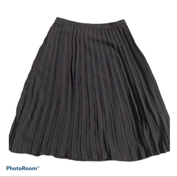 Christopher & Banks Dresses & Skirts - Pleated Black Petite Midi Skirt